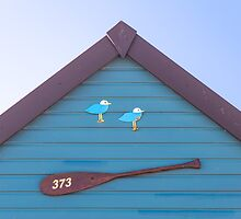 Beach hut no. 373 ~ gulls and oar by Zoe Power