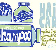 Retro Bath Print - Shampoo Blue by Create4Home