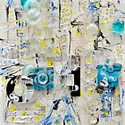 Me and You Us and Them Optics collage with acylic and ink by Regina Valluzzi