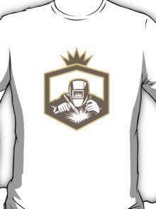 Welder Fabricator Welding Torch Shield Retro T-Shirt