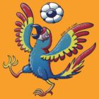 Cool Macaw Playing with a Soccer Ball on its Head by Zoo-co
