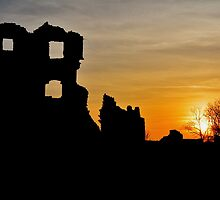 Coity Castle Silhouette by Paula J James