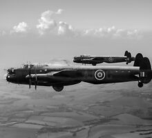 Lancasters AJ-G and AJ-N carrying Upkeeps black and white version by Gary Eason + Flight Artworks