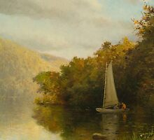 Sailboat on river by Bridgeman Art Library