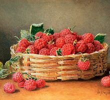 A Still Life of Raspberries in a Wicker Basket by Bridgeman Art Library