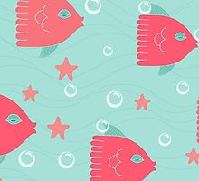 Colorful red fishes and sea pattern nautical by majuli1990