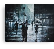 CROSSING THE SNOWY STREET Canvas Print