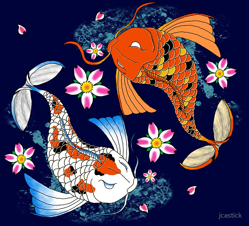 Koi pond drawing gifts merchandise redbubble for Koi fish pond drawing