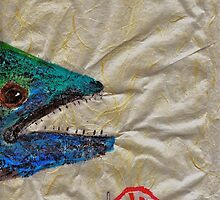 Gyotaku - Spanish Mackerel Head by IslandFishPrint