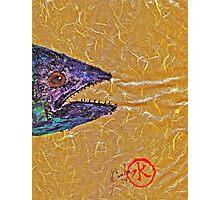 Gyotaku- Spanish Mackerel- Bright  Yellow Unryu Paper Photographic Print