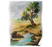 """Watercolor """"Beside the Pond"""" Poster"""