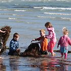 Building a Seaweed Castle! Fort Glanville Beach. S.A. by Rita Blom