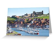 Whitby upper harbour and abbey ruins Greeting Card