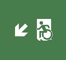 Accessible Means of Egress Icon Emergency Exit Sign, Left Hand Diagonally Down Arrow by LeeWilson