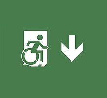 Accessible Means of Egress Icon Emergency Exit Sign, Right Hand Down Arrow by LeeWilson