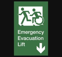 Emergency Evacuation Lift Sign, Left Hand Down Arrow, with the Accessible Means of Egress Icon and Running Man, part of the Accessible Exit Sign Project Kids Clothes