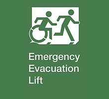 Emergency Evacuation Lift Sign, Right Hand, with the Accessible Means of Egress Icon and Running Man, part of the Accessible Exit Sign Project by LeeWilson