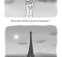 Giraffes in love dreaming of Paris by pdcdec
