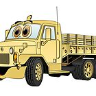 Military Stake Truck Cartoon Sand by Graphxpro