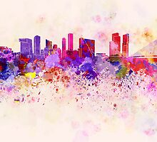 Rotterdam skyline in watercolor background by Pablo Romero