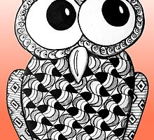 Bright Orange Zentangle Owl by AlyssaKayArt