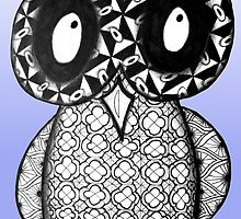 Dark-Eyed Zentangle Owl by AlyssaKayArt
