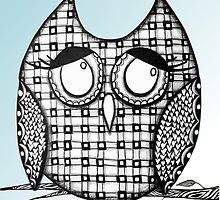 Sky Blue Zentangle Owl by AlyssaKayArt