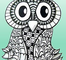 Blue-Green Zentangle Owl by AlyssaKayArt