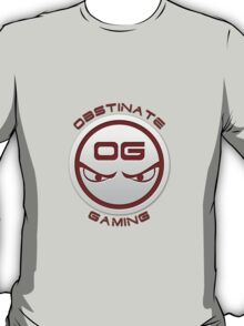 Obstinate Gaming (Maroon Text) T-Shirt