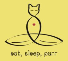 "Stylized Cat Meditator with Eat, Sleep, Purr"" in fancy text by Mindful-Designs"