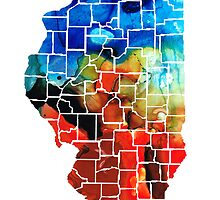 Illinois - Map Counties By Sharon Cummings by Sharon Cummings