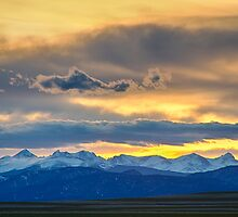 Colorado Rocky Mountain Front Range Sunset Gold by Bo Insogna