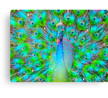 Light From Within (Neon Peacock) Canvas Print