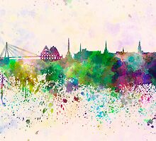 Riga skyline in watercolor background by paulrommer