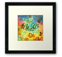 FLY ME TO THE MOON - Rainbow Bold Galactic Typography Outer Space Orbit Stars Abstract Fine Art Framed Print