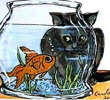 Cat Looking into Fish Bowl by Carole Chapla