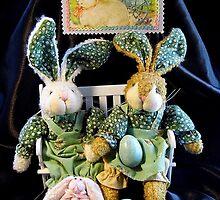 Green Bunnies For Easter by WildestArt