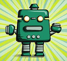 Retro robot – old green by pygmycreative