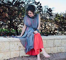 girl in new red dress  by Benjamin Gelman