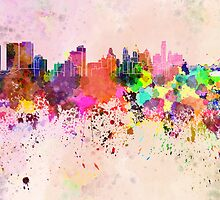 Philadelphia skyline in watercolor background by paulrommer