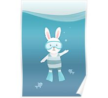 Cute white rabbit in the under water Poster
