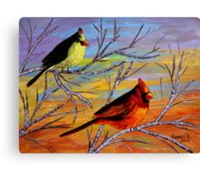 Birds on the birch tree Canvas Print