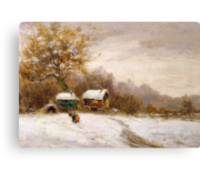 Gypsy Caravans in the Snow Canvas Print