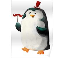 Fancy Penguin with Mustaches on the stick Poster