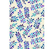 Hand Painted Purple & Aqua Leaf Pattern on Cream Photographic Print