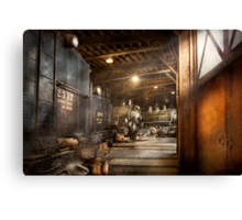 Train - Ready in the roundhouse Canvas Print