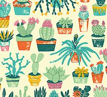 Cactus Pattern Fabric by sale