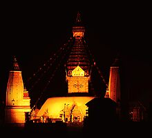 Swayambhunath at night by Brian Decrop