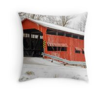 Dunbar Covered Bridge with Snow Throw Pillow