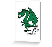 Dragon poop shitting toilet cool comic Greeting Card